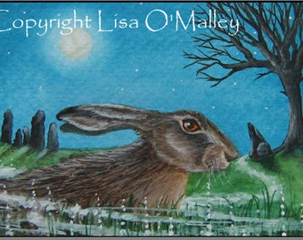"ACEO Print Hare ""Under a Quiet Moon"""