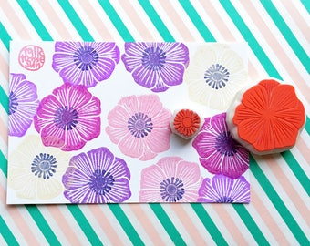 anemone flower rubber stamp | wildflower stamp | diy botanical wedding birthday card making | hand carved by talktothesun | set of 2