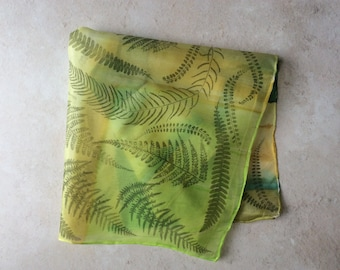 Silk square neck scarf Handprinted with ferns .