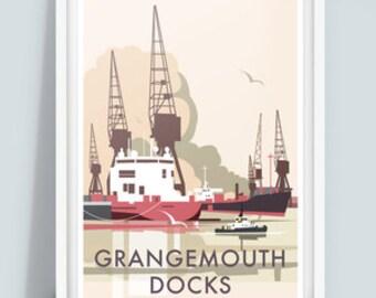 Grangemouth Docks Travel Poster Print, Scotland
