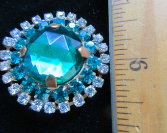 Vintage Gorgeous Czech Glass Rhinestone Button   Teal & Crystal
