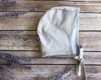 Bonnets - baby bonnets - Sand beige newborn bonnet - toddler bonnets - pilot hat - newborn hats - floral bonnet - bonnets for girls - bonnet