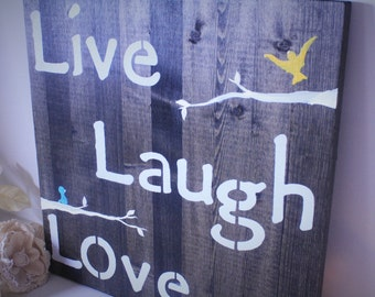 Wooden Wall Art - Live Laugh Love - Family - Tree- Family Sign - Birds - Quotes - Customizable - Rustic - Nature
