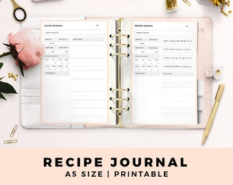 A5 Size Personal Planner Inserts, Recipe Journal, Recipe Diary, Blush and Gold Printable Planner Inserts, Life Planner Pages