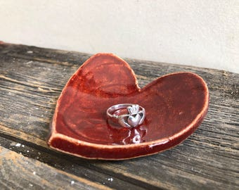 Heart dish for trinkets, rings, jewelry, spoon rest, tea bag rest, tea light candle pottery, handmade rustic red, love, Valentine's Day