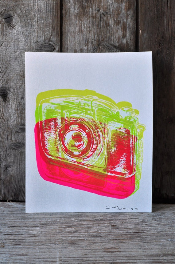 Camera #15, hand pulled silkscreen print, Boyer camera, 8 x 10 inches, open edition.