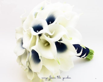 Navy Picasso Real Touch Calla Lily Bridal Bouquet - Navy Blue and White Wedding Bouquet Real Touch Picasso Callas
