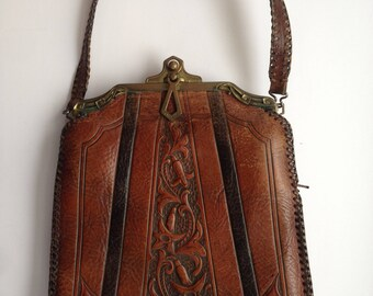 Victorian Tooled Leather Handbag