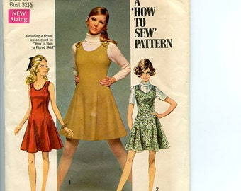 Vintage 1960s Simplicity How To Sew Pattern 8367 Dress orJumper in 2 Lengths 2 figure types