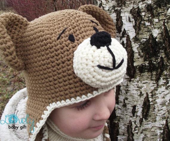 Earflap teddy bear hat crochet pattern toddler hat baby earflap teddy bear hat crochet pattern toddler hat baby winter hat pattern cp 304 dt1010fo