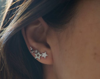 Cubic zirconia stars ear climbers