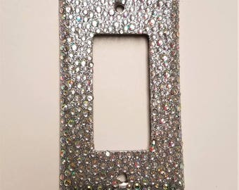 Bling Silver Glitter Single Toggle Rocker Style Light Switch Plate Cover with ALL AB IRIDESCENT Rhinestones Wallplate