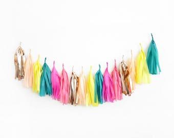 Island Tassel Garland - fringe tissue banner - tropical paradise party
