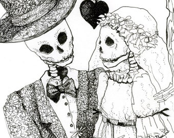 Skeleton drawing, Day of the dead, Pen and ink, Skeleton Wedding, Bride and Groom, fine art, Giclee Print, Halloween wedding, gothic decor