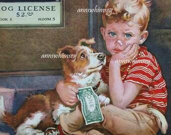 "Art Print Little Boy In Tears ""Don't Take Him Away"" Dog and Boy art print  #590"