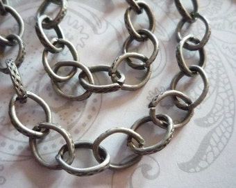 Textured Oval Rolo 6X10mm Chain in Antiqued Silver - 48 inches
