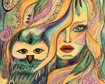 Watercolor Owl Painting - Fashion Painting - Owl