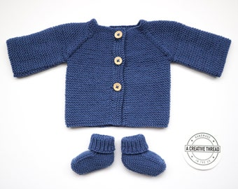 Hand Knit Baby Cardigan + Bootie Set - Denim Blue