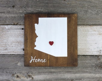 "Rustic Hand Painted ""Home State"" Wood Sign, Arizona State Home, Home State Pride - 9.25""x9.25"""