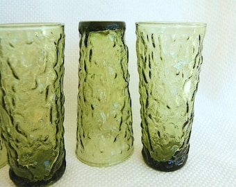Vintage Set of 4 Anchor Hocking Green Lido Milano 14 Ounce Glass Tumblers in Avocado Green Milano Coolers, Great size for Iced Tea