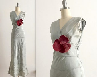 1930s dusty aqua taffeta gown