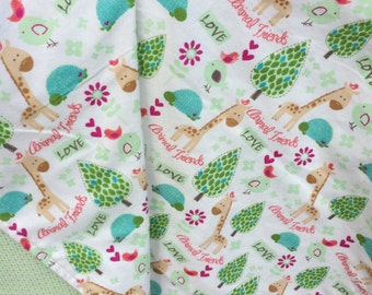 Flannel Baby Blanket / Kid Car Blanket - Safari Animals on Cream with Green Checkerboard Back, Personalization Available