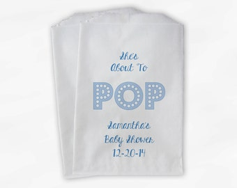 She's About To Pop Baby Shower Candy Buffet Treat Bags - Baby Boy Personalized Favor Bags in Blue - 25 Custom Paper Bags (0128)