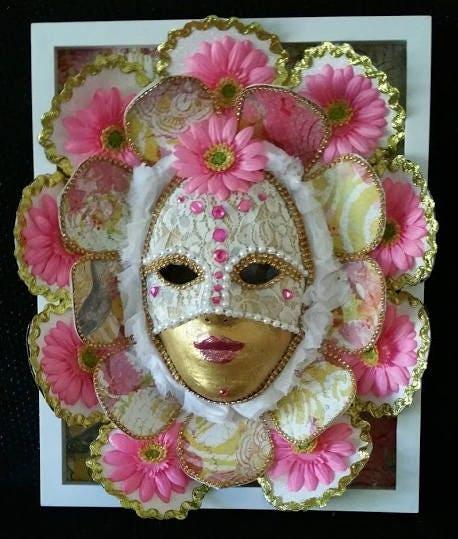 Handmade one of a kind original paper mache mask pink flower handmade one of a kind original paper mache mask pink flower girl made by maskweaver soraya ahmed mightylinksfo