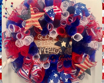 American Pride Wreath, God Bless America Wreath, American Wreath, Memorial Day Wreath, 4th of July Wreath, Red white and blue Wreath