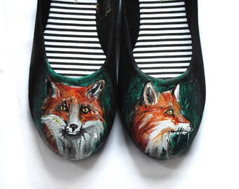 Handpainted fox ballerinas, ballet shoes, custom flats, fox shoes, wild life flats, nature lover, handpainted slip ons