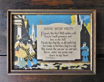 Buzza Motto ~ 1925 J.P. Mc Evoy Vintage Framed Desk Print, Friend Gift, Secret Santa    /0460