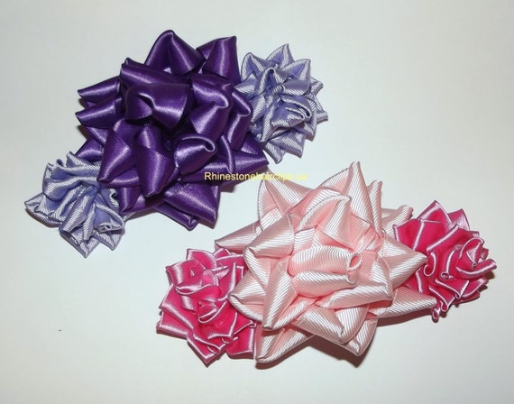 Becky Bows ~ Barrette rhinestones huge Scarf BIG hair bow Women or Girls giant  KANZASHI roses pink or purple