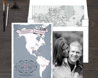The Americas South America North America bilingual wedding invitation Two Countries Destination wedding Save the Date DEPOSIT PAYMENT