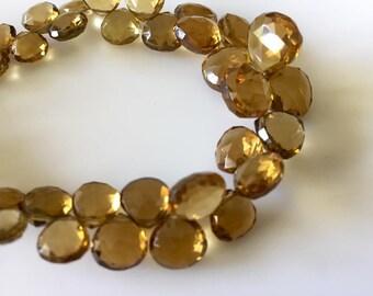 AAA Lemon Quartz Faceted Heart Shaped Briolette Beads, 6mm To 11mm Natural Lemon Beer Quartz Beads, 8 Inch Full Strand Gds794