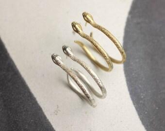 Serpent hoop earrings, silver or gold plated | Snake earrings | Snake hoops