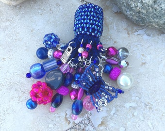 Light Fan Ball Chain Pull - Beaded Tassel - Blue and Hot Pink - Butterfly