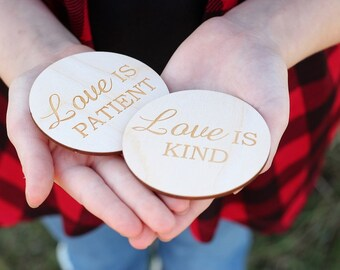 Love Is Wood Discs Rustic Wedding Favors Love Is Patient Love Is Kind Guestbook Autograph Shapes 1 corinthians 13 DownInTheBoondocks
