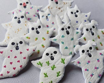 MYSTERY GHOST - Spirit Animal Fabric Brooch - LUCKY Dip