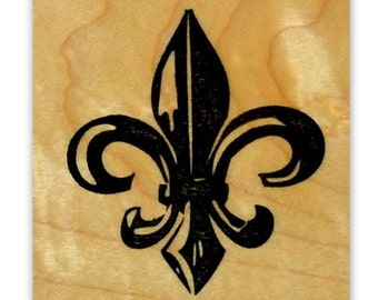 Large FLEUR-DE-LIS Mounted rubber stamp, French Monarchy symbol, New Orleans, fleur de lys, fleur de luce, Sweet Grass Stamps  no.15