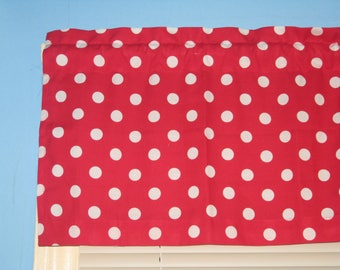 Large White Polka Dots on Lipstick Red Handmade 100% Cotton Window Curtain Curtain Valance