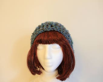 Slouchy Beanie hat with blue green gray colors, hand crocheted with textured yarn