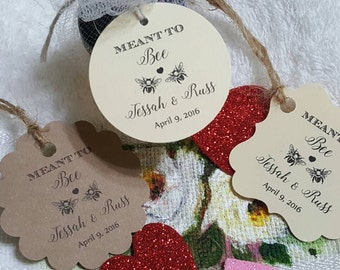 """Personalized Favor Tags 2x2"""", 2"""", Wedding tags, Thank You tags, Favor tags, Gift tags, Bridal Shower Favor Tags, meant to bee, meant to be"""