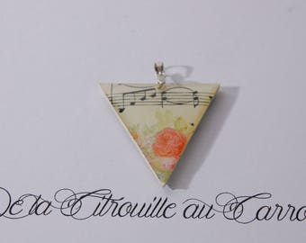 Sheet music and flowers pendant