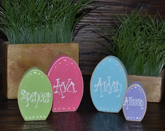 Easter block set wood easter decor spring decorations holiday easter place card set personalized place card holder block love home decor primitive block easter negle Choice Image