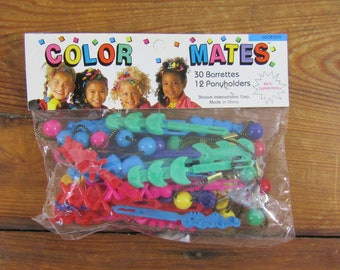 NOS 42 piece plastic barrettes and ponyholders