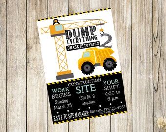 Personalized Construction theme invitation. Dump Truck, Dump Everything, Under construction. FILE DOWNLOAD only. DIGITAL file