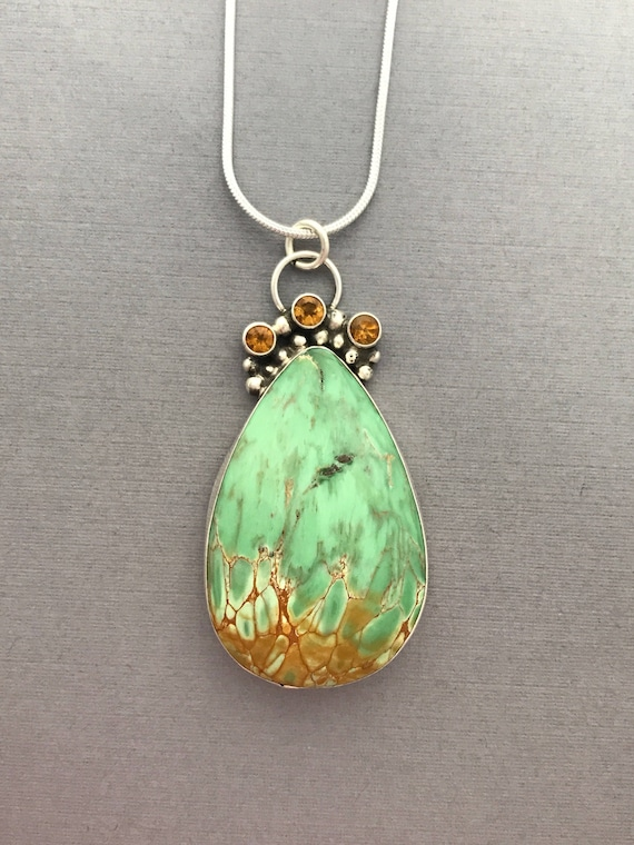 Clay County Variocite, citrine, pendant, handmade, sterling silver