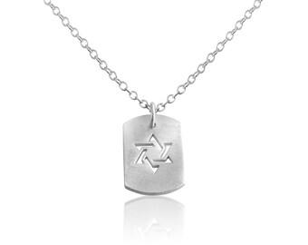 Star of David Jewish Religious Symbol Hexagram Geometric Shape Dog Tag Charm Pendant Necklace #925 Sterling Silver #Azaggi N0704S