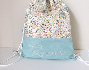 Backpack child customizable celadon linen and Liberty adelajda multicolored name