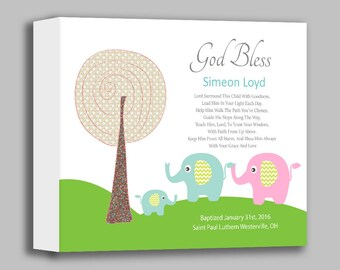 Baby Boy Nursery Art - Canvas Baptism Gift - Christening Gifts for Boys - Elephants - Personalized Baptism Gift - Choice of Poems